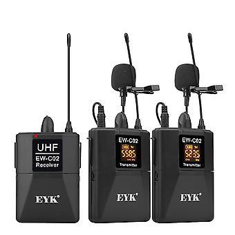 Dslr Kamera Puhelin Uhf Langaton Dual Lavalier Mikrofoni Järjestelmä Ylös