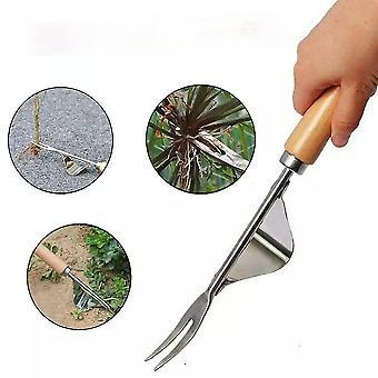 2pcs/1pc Steel Root Extractor Wooden Handle Weeder Ripper Garden Hand Weeder Remove Weeds Gardening