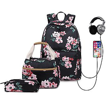 College Girl's Backpack Set With Lunch Box And Pencil Bag