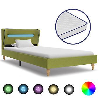 vidaXL Bett mit LED und Memory-Schaum-Matratze Grün Stoff 90×200 cm