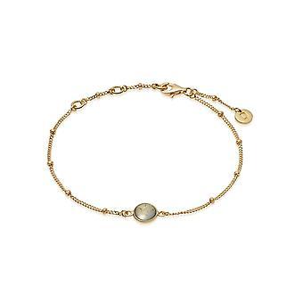 Daisy Labrodorite Healing Stone Bobble 18ct Gold Plate Bracelet HBR1007_GP