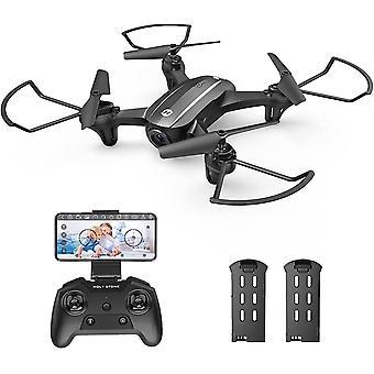 HS340 Mini Drohne mit Kamera 720P HD Live Übertragung für Kinder,RC FPV Quadrocopter mit 2 Akkus