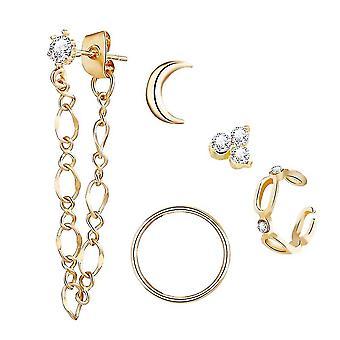 5pcs Oorbellen Set Moon Full Diamond Chain Golden Earrings Voor Party