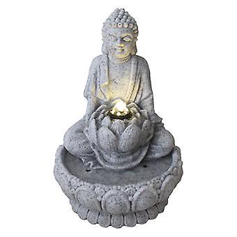 Grzywny Asianliving Sandstone Budda na Lotus Fountain 21.5x31.2cm
