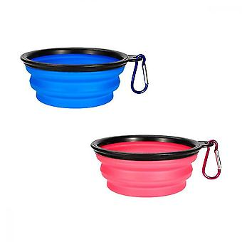 Pet Bowl Travel, Foldable Silicone Portable Pet Water Bowl For Outdoor Cat And Dog Food, Blue Pink