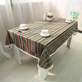 Striped Tablecloth Cotton Linen Square Rectangle Dining Desk Table Cloth Cover