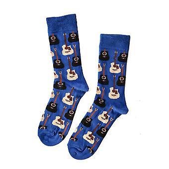 Children''s Guitar SocksChildrens Guitar Socks. Cotton Socks for Children Knit Pattern with Guitars These Socks Are Popular Among Music Loversn# Colour: Blue Composition: 80% Cotton
