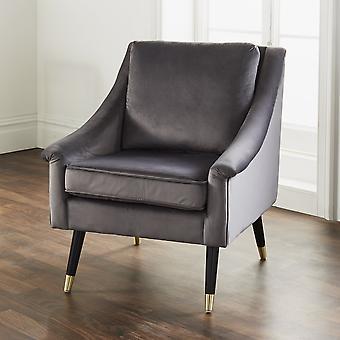 Poltrona de graça de veludo cinza de luxo