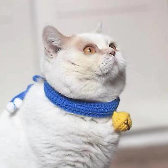 Cat Collar Mute Bell Adjustable, Hand-woven Pet Collar (blue) - S