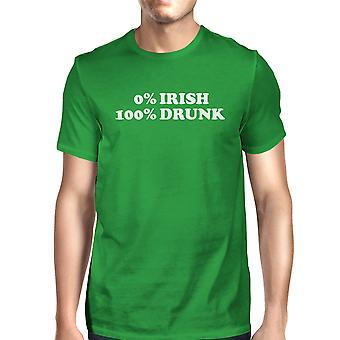 0% Irish 100% Drunk Men's Green T-shirt Hilarious Saying