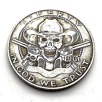 1961 Wandering Coin Skull Pirate Sniper Antique Cuivre et Argent Série de pièces commémoratives en relief 30mm