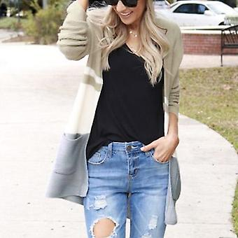 Women Colorblock Knitted Cardigan Sweater Casual V-neck Jumper Top