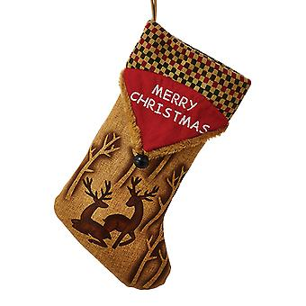 Kurt Adler Woodland Deer Lodge Design Merry  Holiday Stocking
