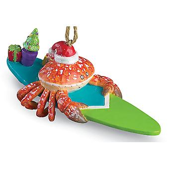 Surfing Red Crab Surfer Dude Christmas Ornament