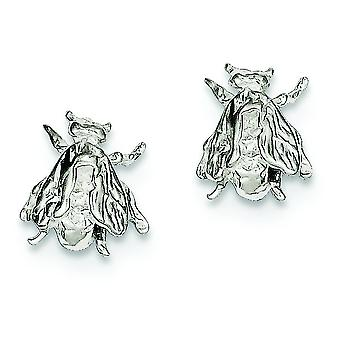 925 Sterling Silver Solid Polished Post Earrings Bee Mini for boys or girls Earrings - 2.4 Grams