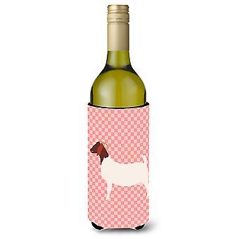 Boer Goat Pink Check Wine Bottle Beverge Insulator Hugger