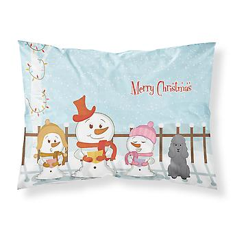 Merry Christmas Carolers Poodle Silver Fabric Standard Pillowcase