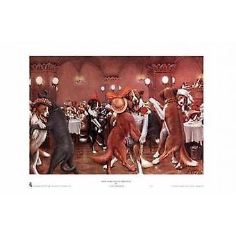 Uudenvuoden aattona Dogville Juliste Tulosta, jonka Cassius Marcellus Coolidge (14 x 10)