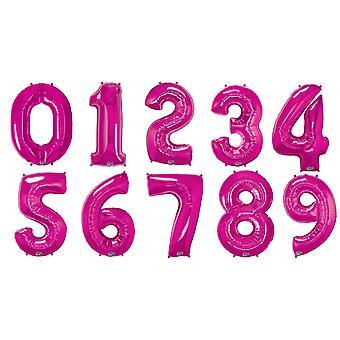 Qualatex 34 tommer metallisk Magenta antall ballonger (0-9)