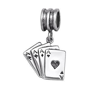 Playing Card - 925 Sterling Silver Plain Beads - W29547X