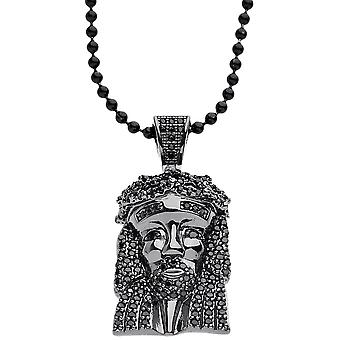 Iced out bling micro collier pave - MINI Jésus noir