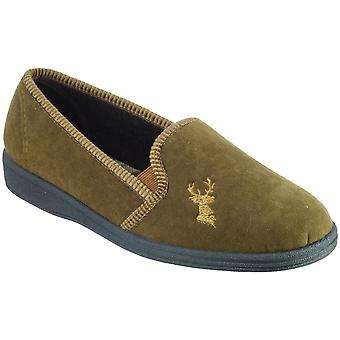 Mirak Mens Stag Slip-On Stag Embroidered Textile Slipper Brown