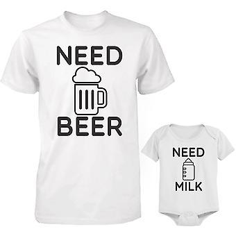 Brug for øl og mælk far og Baby matchende skjorte og Bodysuit