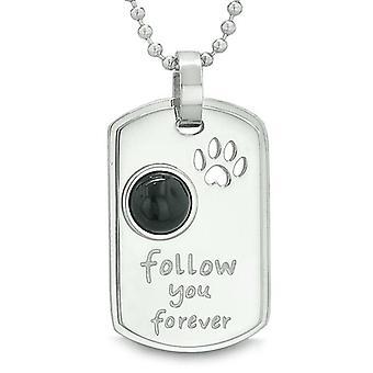 Folgen Sie für immer Wolf Pfote Amulett Dot Tag Positive Energie Anhänger Halskette