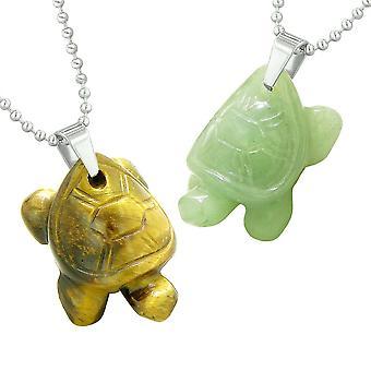 Lucky Charms Schildkröten lieben Paare oder beste Freunde heilende Amulette Tiger Auge grün Quarz Halsketten