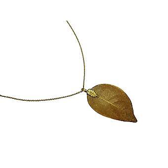 Collier de femme gemshine pendant or feuille plaquée nature rose 7 cm