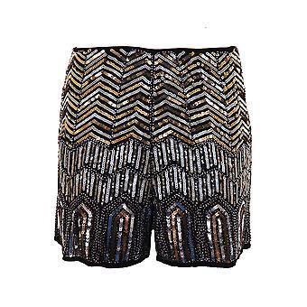 レディース ハイウエスト ビーズ スパンコール アステカ ジグザグ ジグザグの種族の女性のホットパンツ ショート パンツ