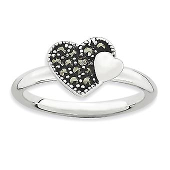2.25mm 925 Sterling Silver Polished Rhodium plated Stackable Expressions Marcasite Love Heart Ring Jewelry Gifts for Wom