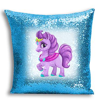 i-Tronixs - Unicorn Printed Design Blue Sequin Cushion / Pillow Cover with Inserted Pillow for Home Decor - 18