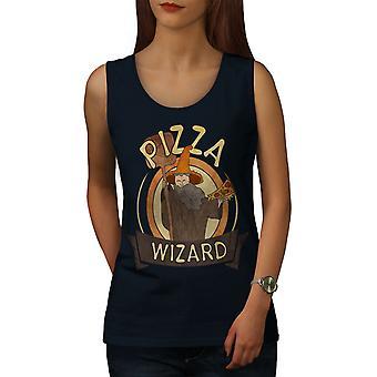Pizza Food Wizard Women NavyTank Top   Wellcoda