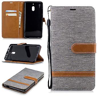 För Nokia 2.1 jeans täcker cell skydd ärm ärendet grå