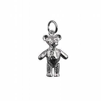 Zilveren 19x13mm beweegbare Teddybeer hanger of Charm