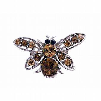 Nätta gåva rökt topas brun elegant Bumble Bee brosch