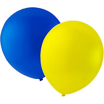 """Balloons 12-pack yellow and blue-30 cm (12 """")"""
