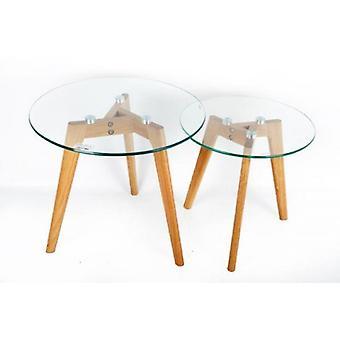 Conjunto de 2 tapa de cristal con roble patas lateral nido mesas hogar oficina decoración