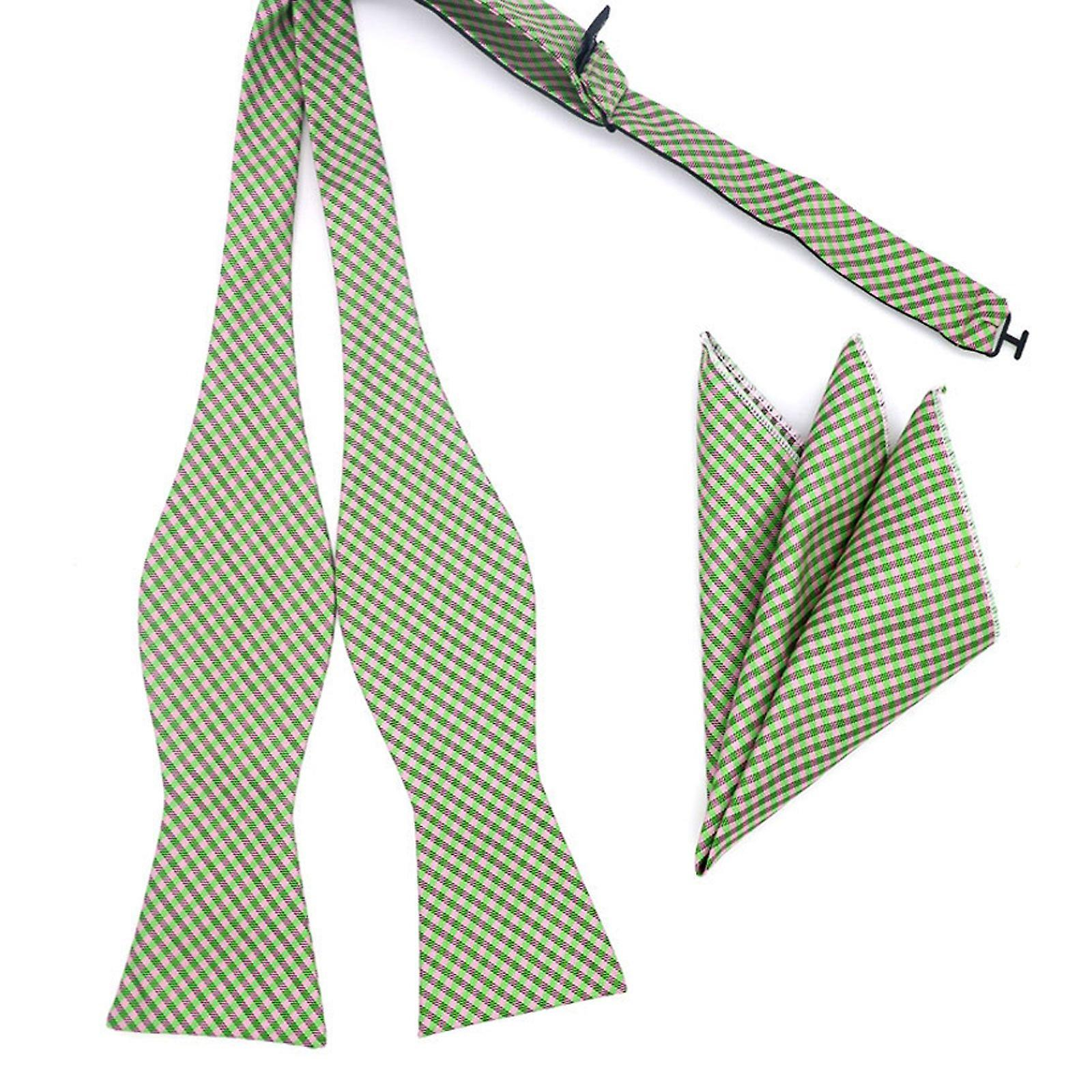 Pink & green gingham bow tie & pocket square hanky set