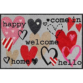 Salon lion floor mat of happy hearts 50 x 75 cm washable dirt mat