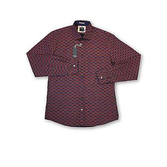 Olyp Casual shirt in red geoetric snowflake pattern