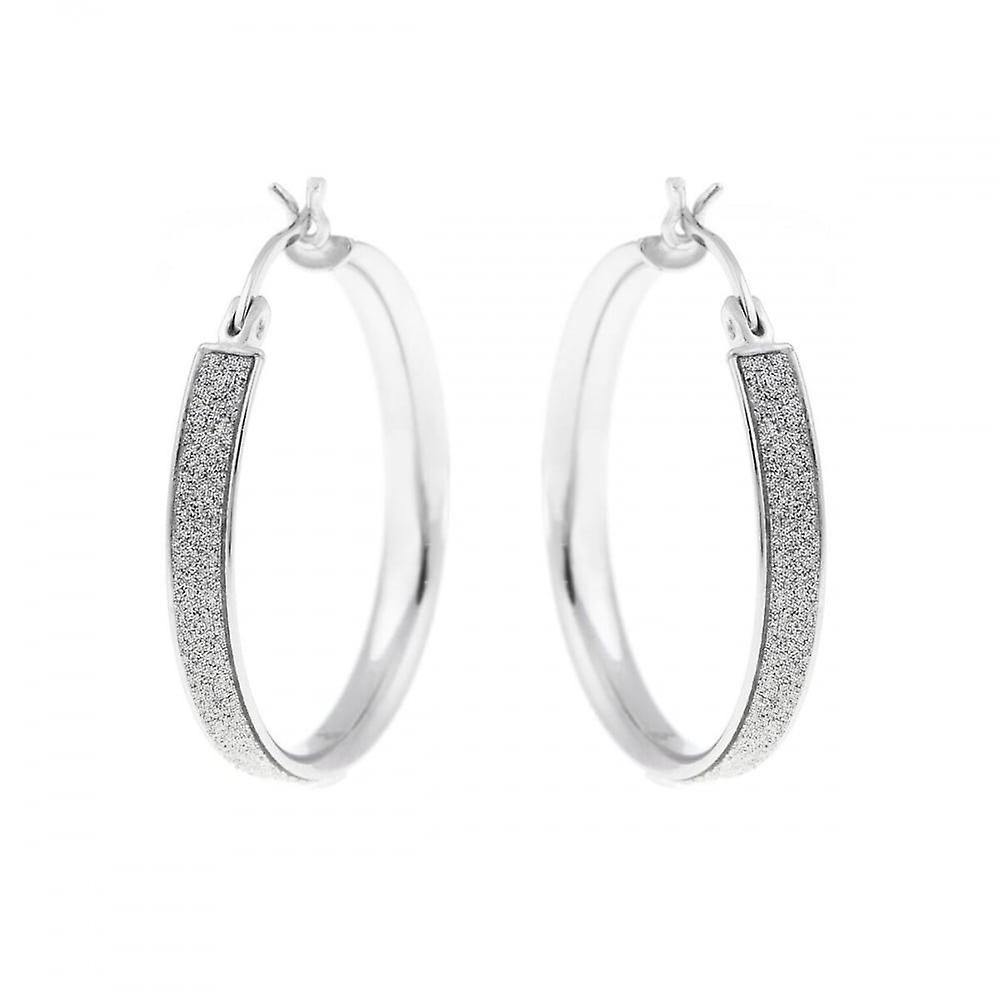 Eternity Sterling Silver Medium Round Stardust Creole Earrings
