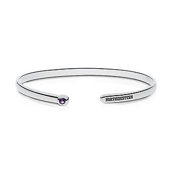 Northwestern University Engraved Sterling Silver Amethyst Cuff Bracelet