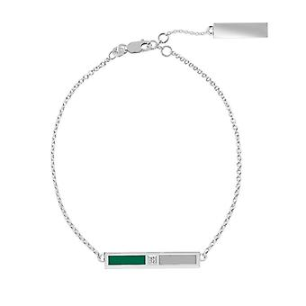 Slippery Rock University Sterling Silver Diamond Bar Chain Bracelet In Green and Grey