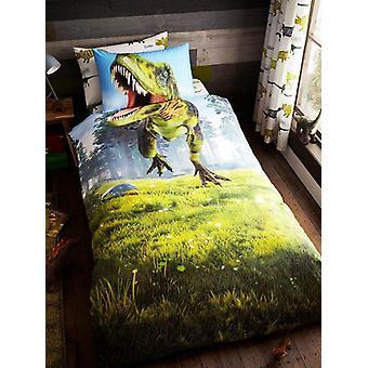 Dino T-Rex enkelt dynebetræk og pudebetræk sæt