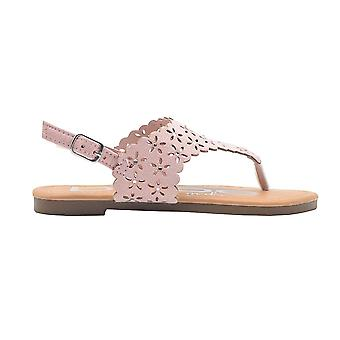 bebe Girls Fashion Sandals Little Kid Scalloped Perforated Slingback T Strap Flats