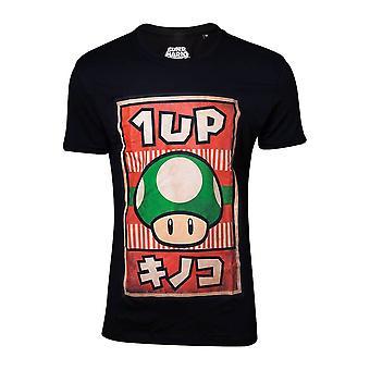 Men's Nintendo 1-Up Mushroom Propaganda Poster Black T-Shirt