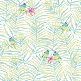 Rasch Paradise Palm Leaf Pattern Tropical Bird Motif Metallic Wallpaper 208801