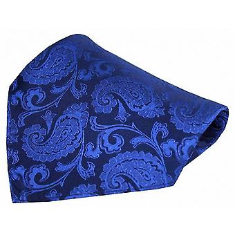 David Van Hagen Paisley Woven Silk Pocket Square - Royal Blue